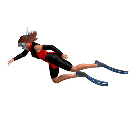 flotating: female diver in colorful diving suit. 3D render Stock Photo