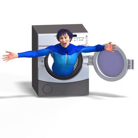 superhero on a washing machine. 3D rendering with clipping path and shadow over white Stock Photo - 5389936