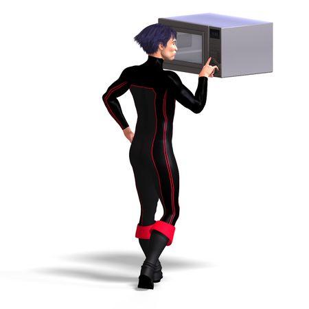 braver: superhero uses a microwave. 3D rendering