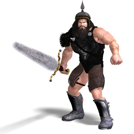 3D rendering of a strong dwarf with sword