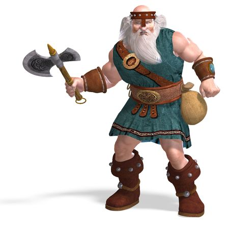 3D rendering of an old dwarf with an axe