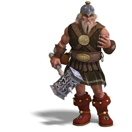 3D rendering of a mighty fantasy dwarf with a hammer