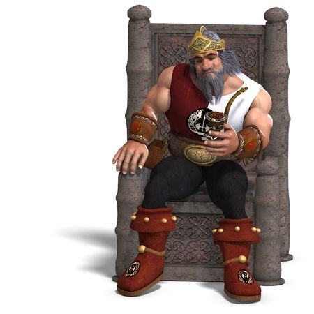 3D rendering of the king of the fantasy dwarves