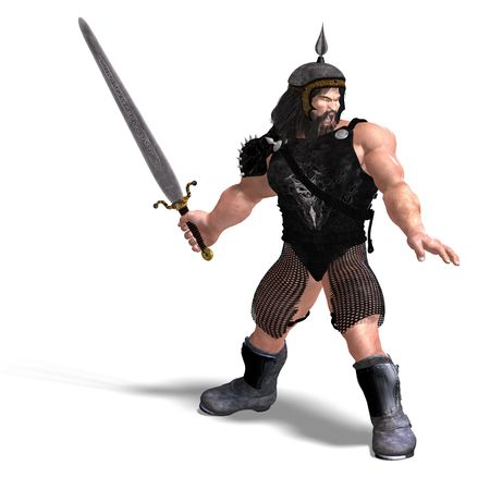 brownie: 3D rendering of a strong dwarf with sword