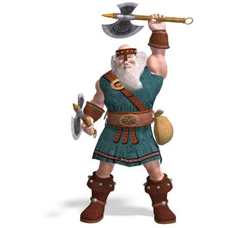 diehard: 3D rendering of an old dwarf