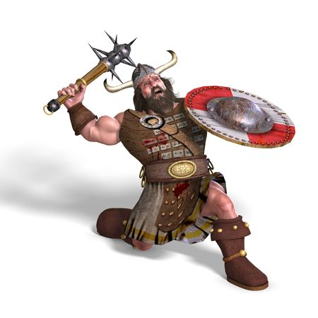 3D rendering of a fantasy dwarf with spike club and shield