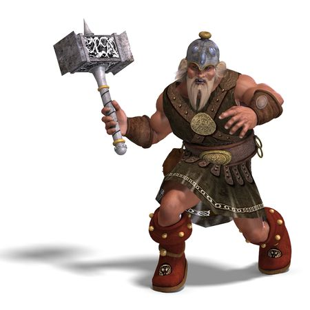 brawl: 3D rendering of a mighty fantasy dwarf with a hammer