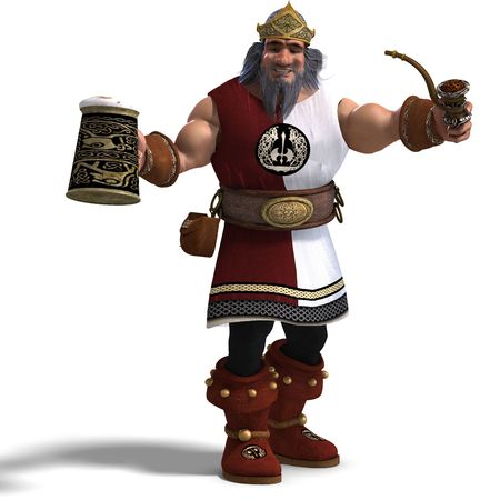 dwarfs: 3D rendering of the king of the fantasy dwarves