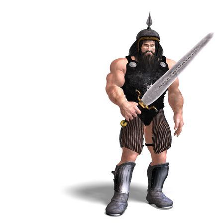 3D rendering of a strong dwarf with sword  Stock Photo