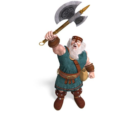 3D rendering of an old dwarf