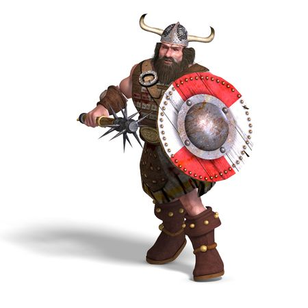 diehard: 3D rendering of a fantasy dwarf with spike club and shield