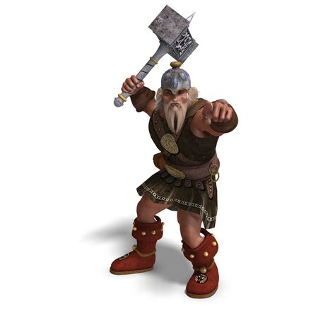 brownie: 3D rendering of a mighty fantasy dwarf with a hammer Stock Photo