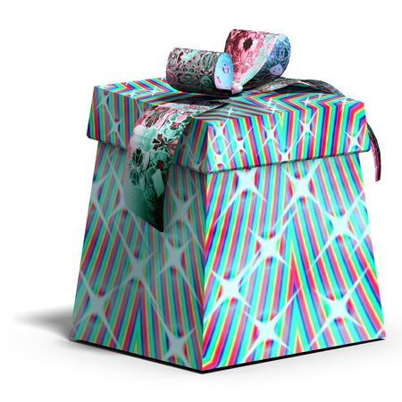 thoughtfulness: a colorful giftbox with a bow. 3D render  Stock Photo