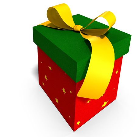 thoughtfulness: a colorful giftbox with a bow. 3D render