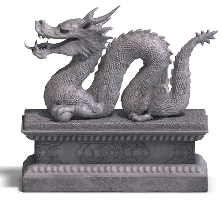 drake: a stone dragon with a ball. 3D Render with clipping path and shadow over white