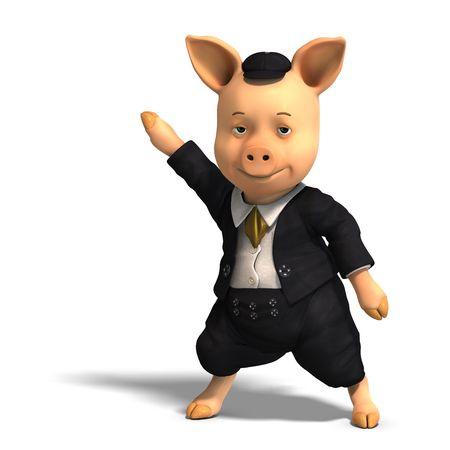 twee: 3D rendering of a cute cartoon pig