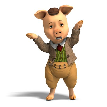 discontent: 3D rendering of a cute cartoon pig