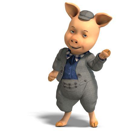 regards: 3D rendering of a cute cartoon pig