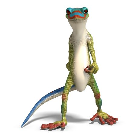 reptilia: funny toon gecko. 3D render with clipping path and shadow over white