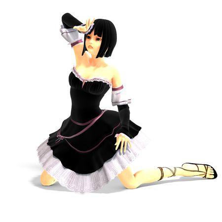 cheerless: 3D rendering of a young cartoon girl with shadow over white