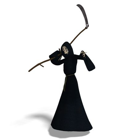 perish: 3D rendering of the deadly reaper with shadow over white Stock Photo