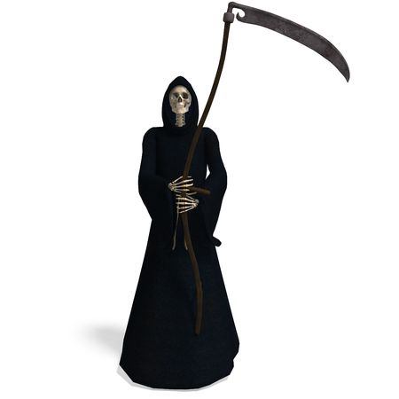 grim: 3D rendering of the deadly reaper with shadow over white Stock Photo