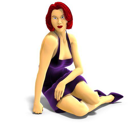 3D rendering van sexy cartoon meisje met schaduw over Wit