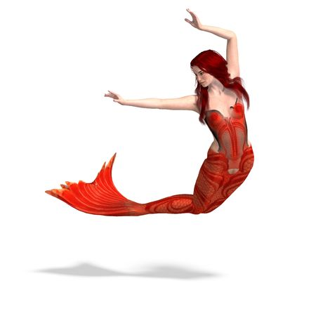 dipping: beautiful mermaid. 3D render with shadow over white