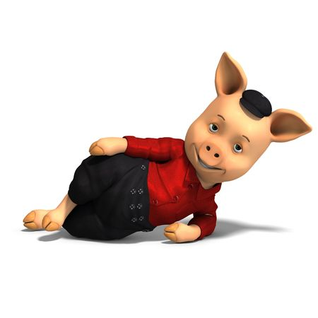 carnivora: 3D rendering of a cute cartoon pig with shadow over white Stock Photo