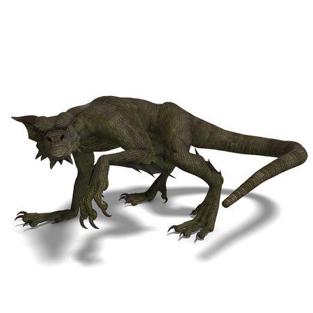 treasure trove: 3D rendering of a Member of the fantasy dragon folk Stock Photo