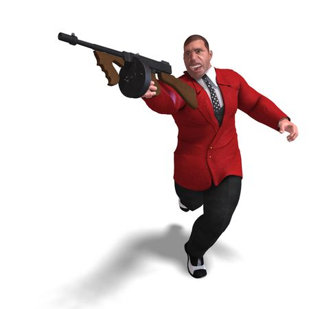 blackmail: 3D rendering of a bad mafia gun man Stock Photo