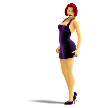 appealing attractive: 3D rendering of sexy cartoon girl