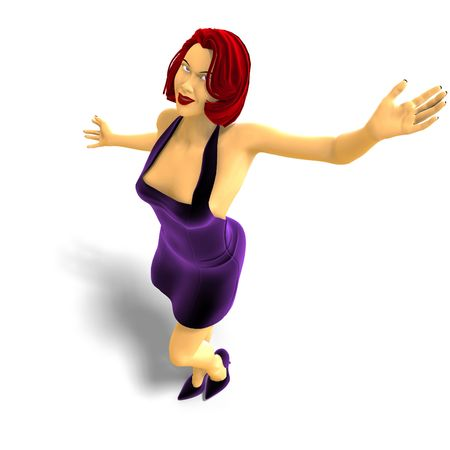femme: 3D rendering of sexy cartoon girl