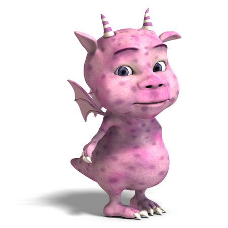 upright: 3D rendering of a little pink cute toon dragon devil Stock Photo