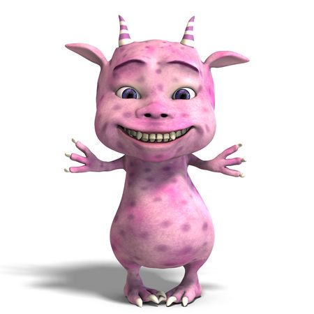 poser: 3D rendering of a little pink cute toon dragon devil Stock Photo