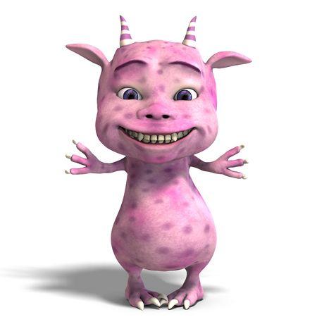 3D-Rendering eines kleinen rosa cute toon dragon Teufel