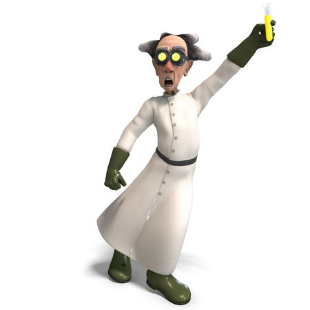 3D rendering of a mad scientist