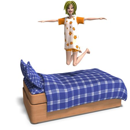 sleepover: 3D rendering of a young and sweet cartoon teen