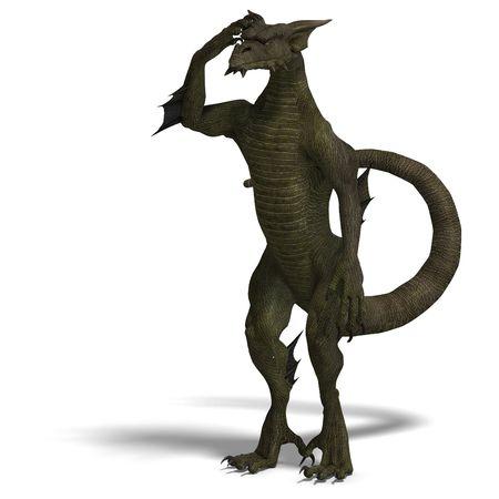 treasure trove: 3D rendering of a Member of the fantasy dragon folk