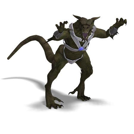 treasure trove: 3D rendering of a Fantasy Dragon Warrior