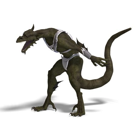 assail: 3D rendering of a Fantasy Dragon Warrior