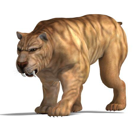 tiptoe: saber-toothed tiger. 3D render