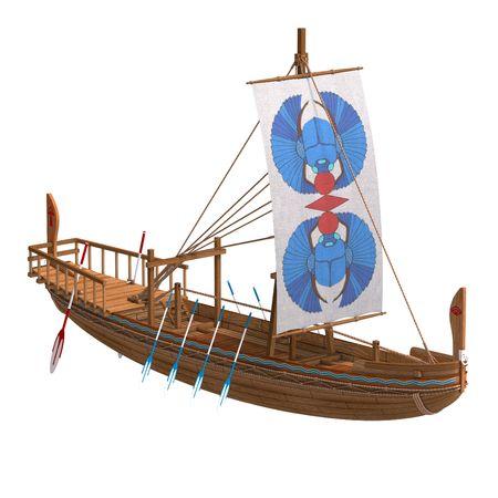 skiff: Egyptian Boat. 3D render  Stock Photo