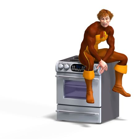 braver: superhero sits on an oven. 3D rendering