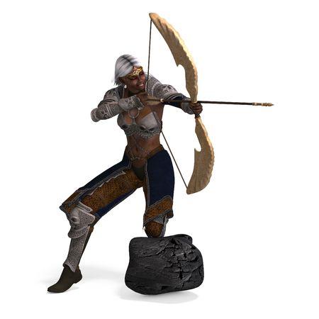 elfo de arquero de fantas�a femenina con arco. representaci�n sobre  Foto de archivo