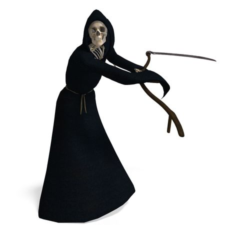 grim: 3D rendering of the deadly reaper  Stock Photo