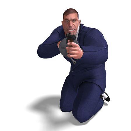 mugging: 3D rendering of a bad mafia gun man  Stock Photo