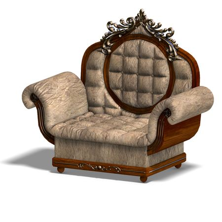 padded stool: 3D rendering of the armchair of louis xv.