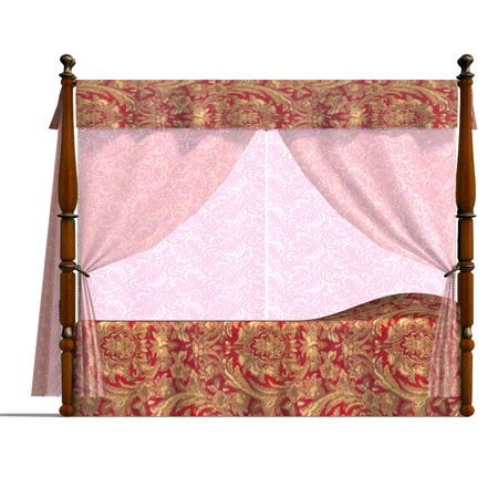 3D rendering of the canopy bed of louis XV.