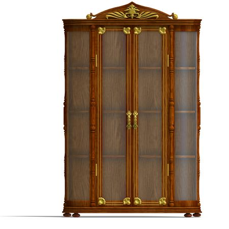 3D rendering of a wooden cabinet with glass of Louis XV.  photo